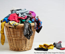 Image of laundry basket with clothes overflowing